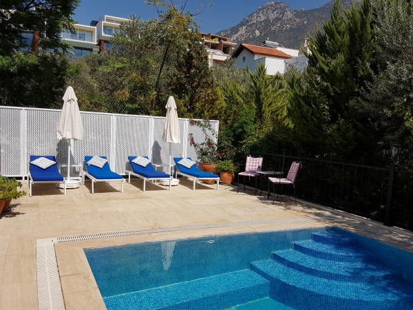 Villa Benita is a luxury 3 bedroom villa with private pool and mature gardens to rent in Kalkan, Turkey on the Aegean Coast.
